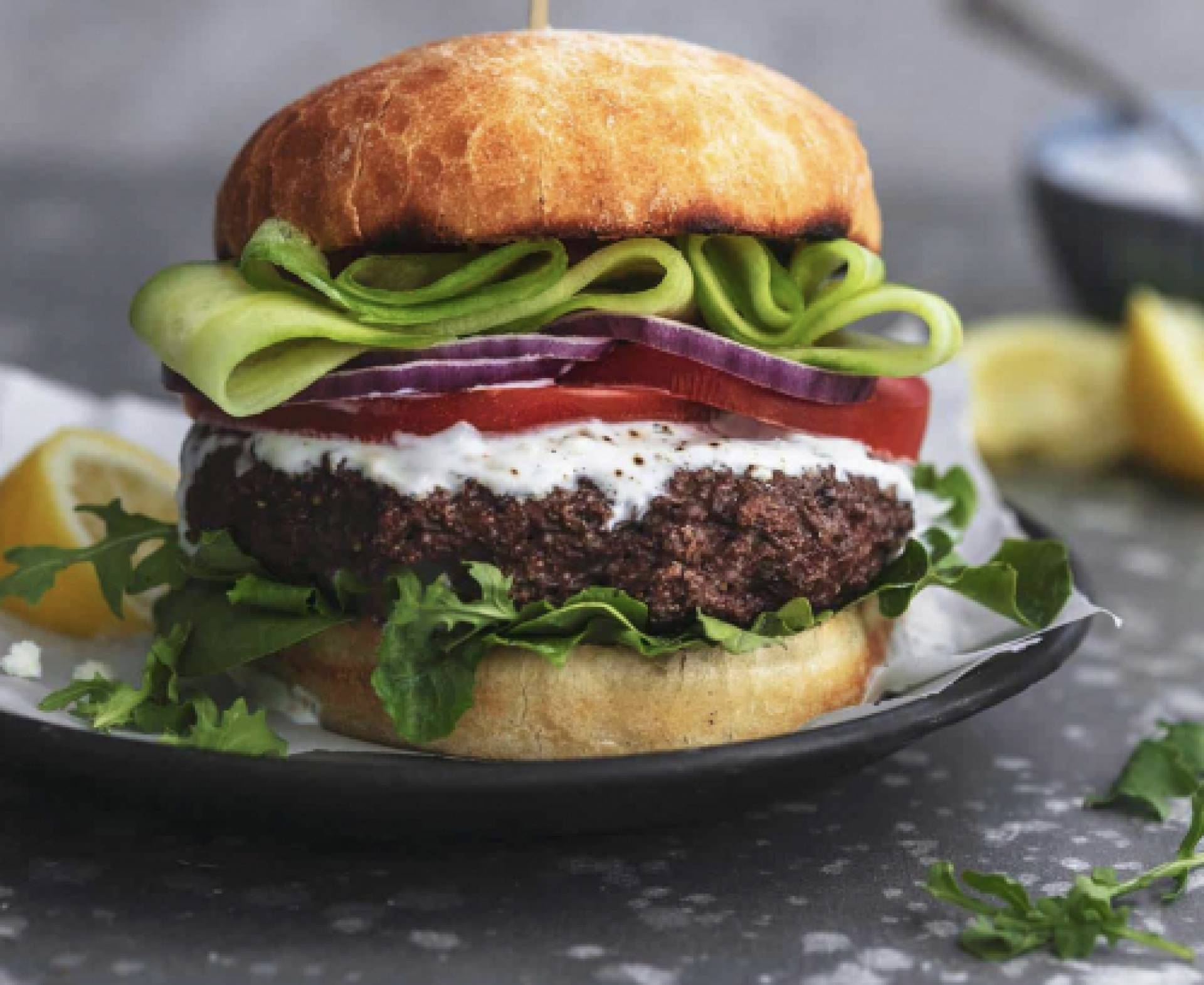 Greek Beef Burger with Tzatziki Sauce