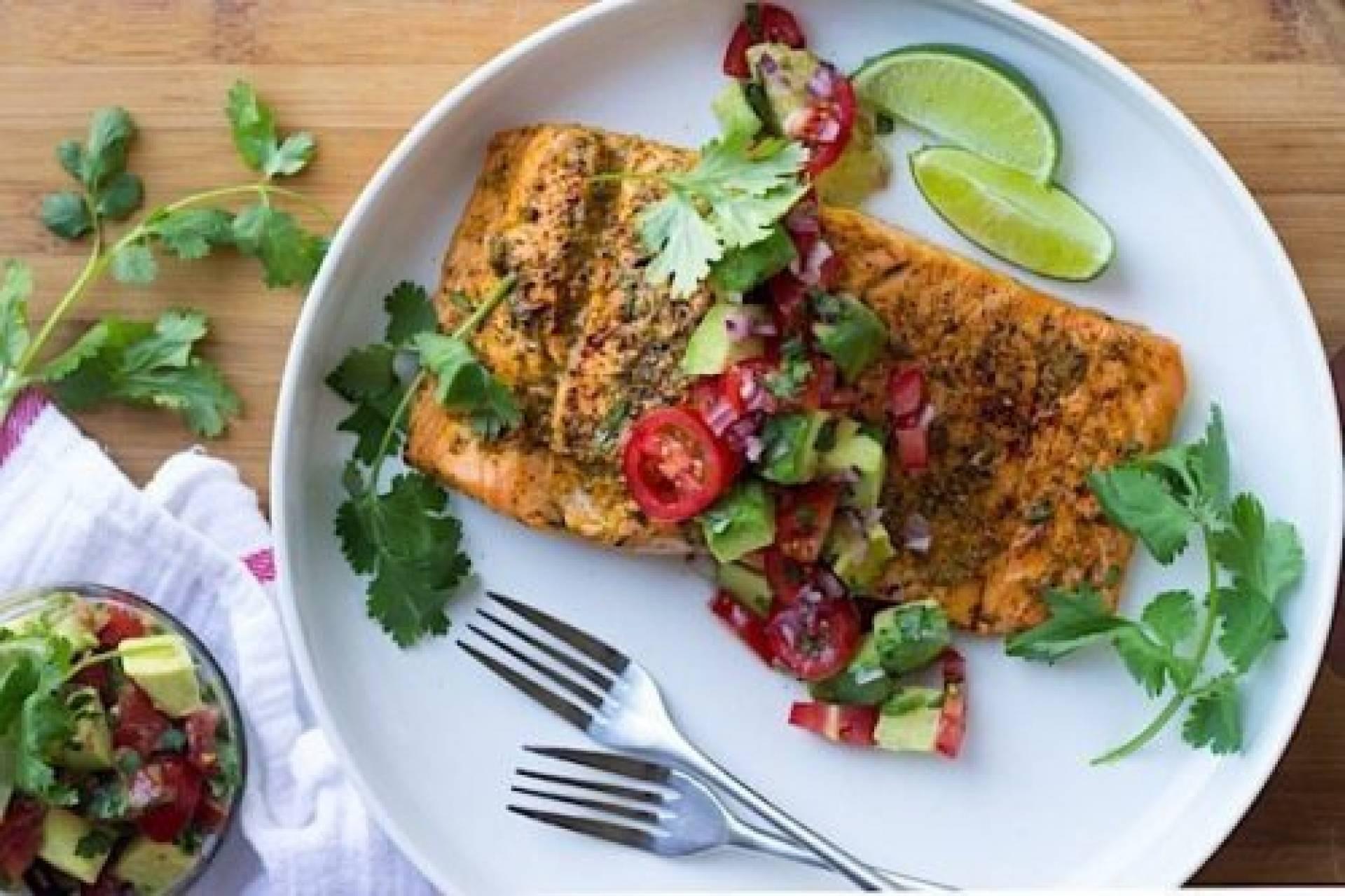 Chili Lime Salmon over Quinoa