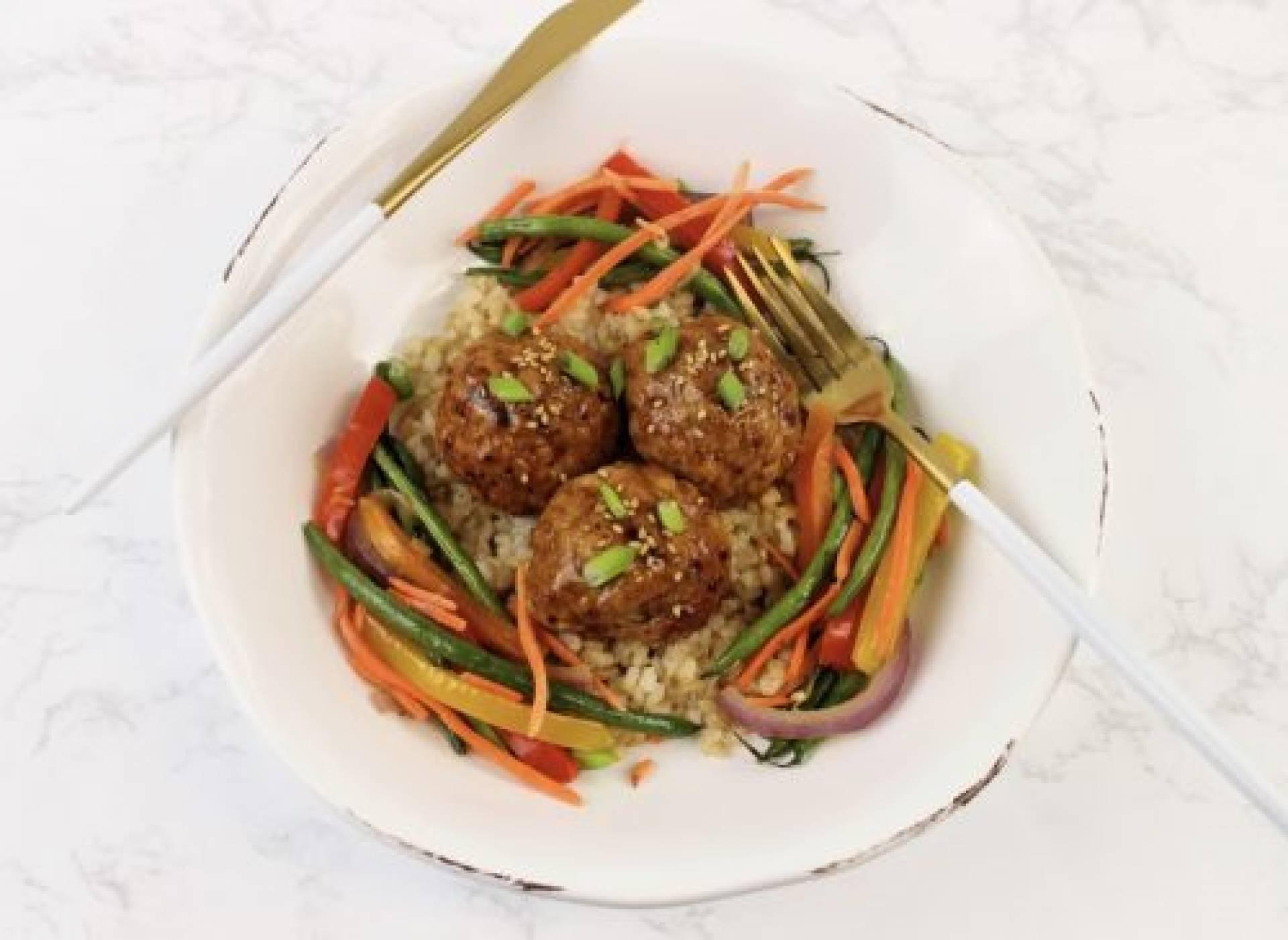 Teriyaki Turkey Meatballs with Peanut Sauce