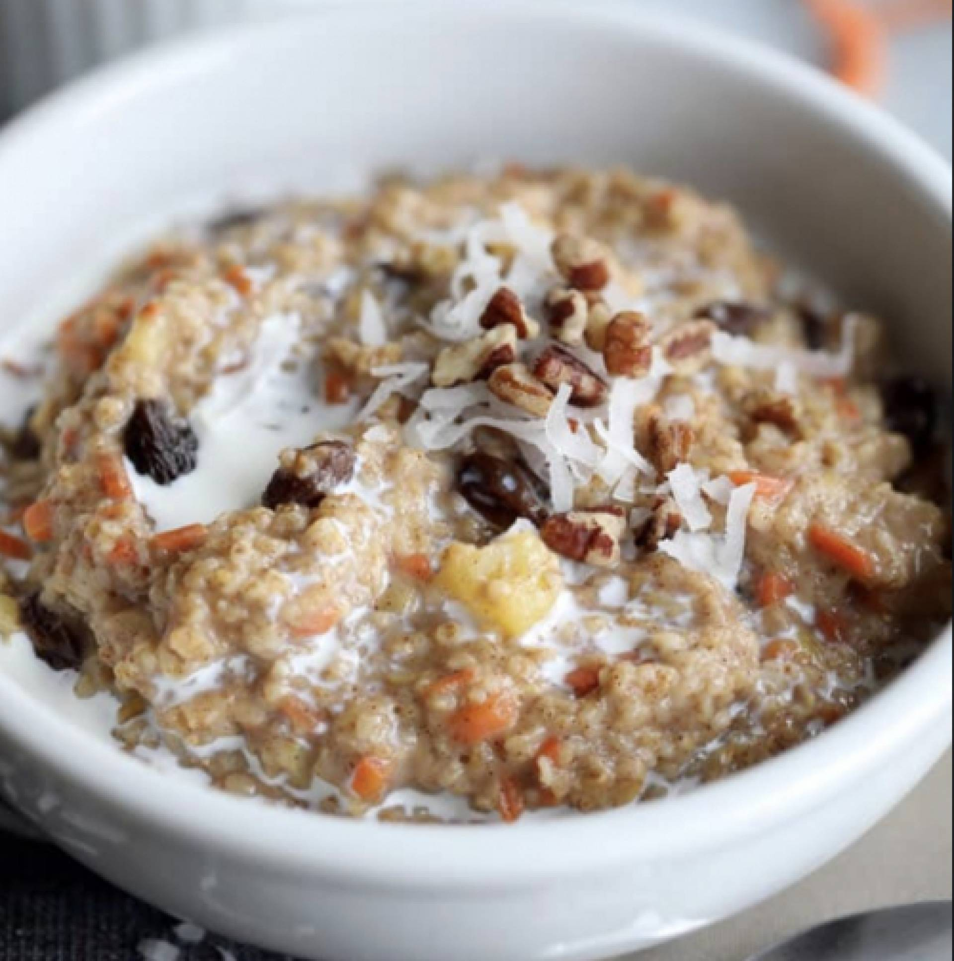 Carrot Cake Oats with Protein Frosting