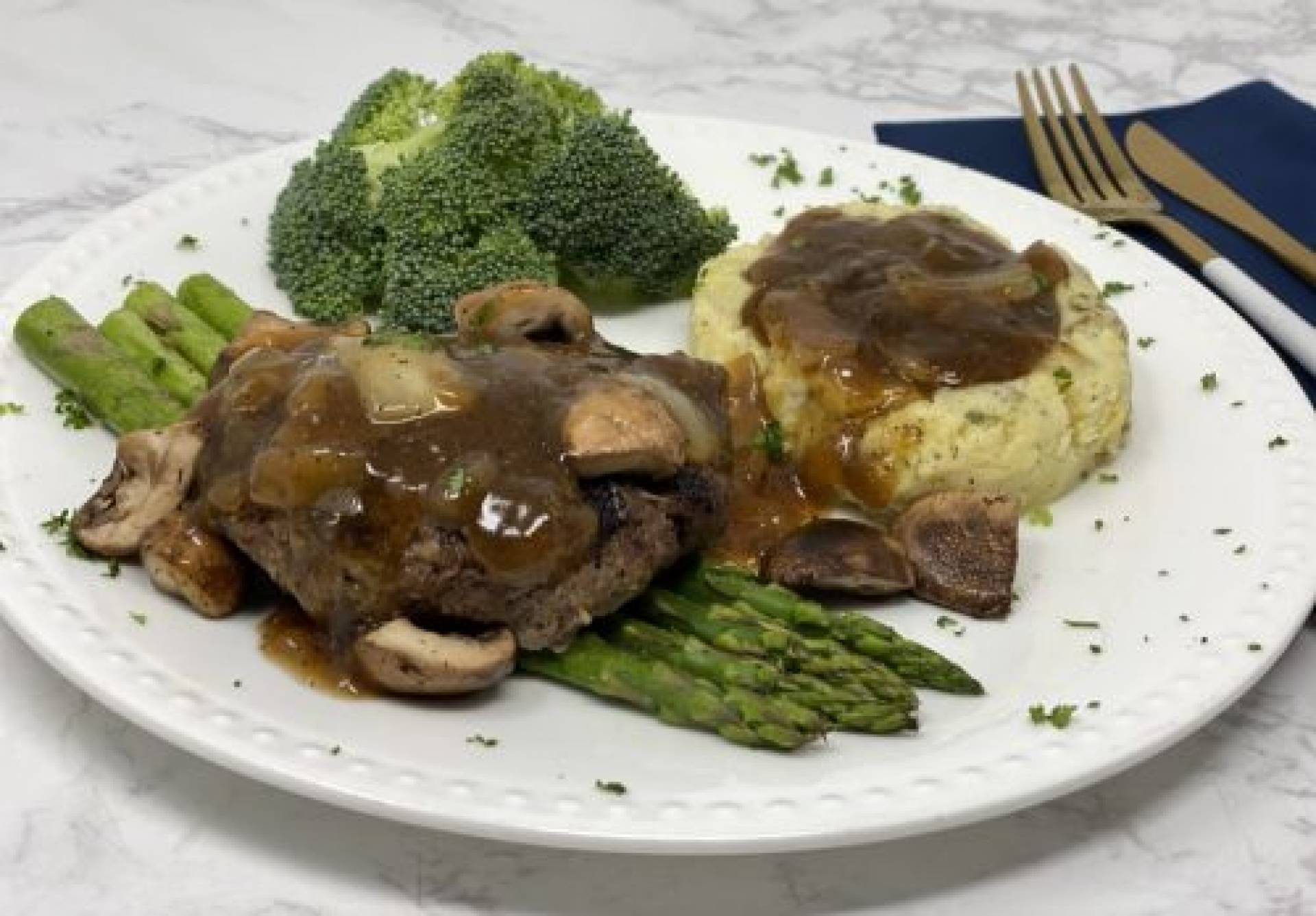 KETO Salisbury Steak in Mushroom Onion Gravy