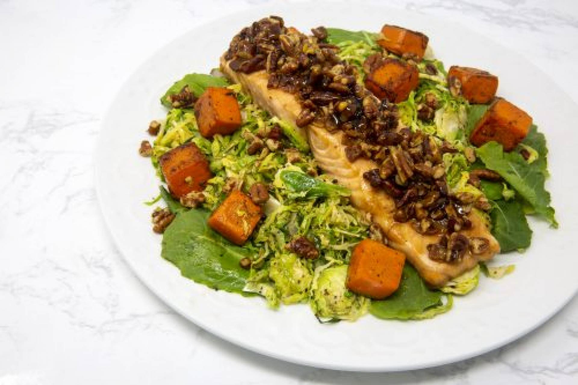 Pecan Maple Salmon with Brussels and Kale