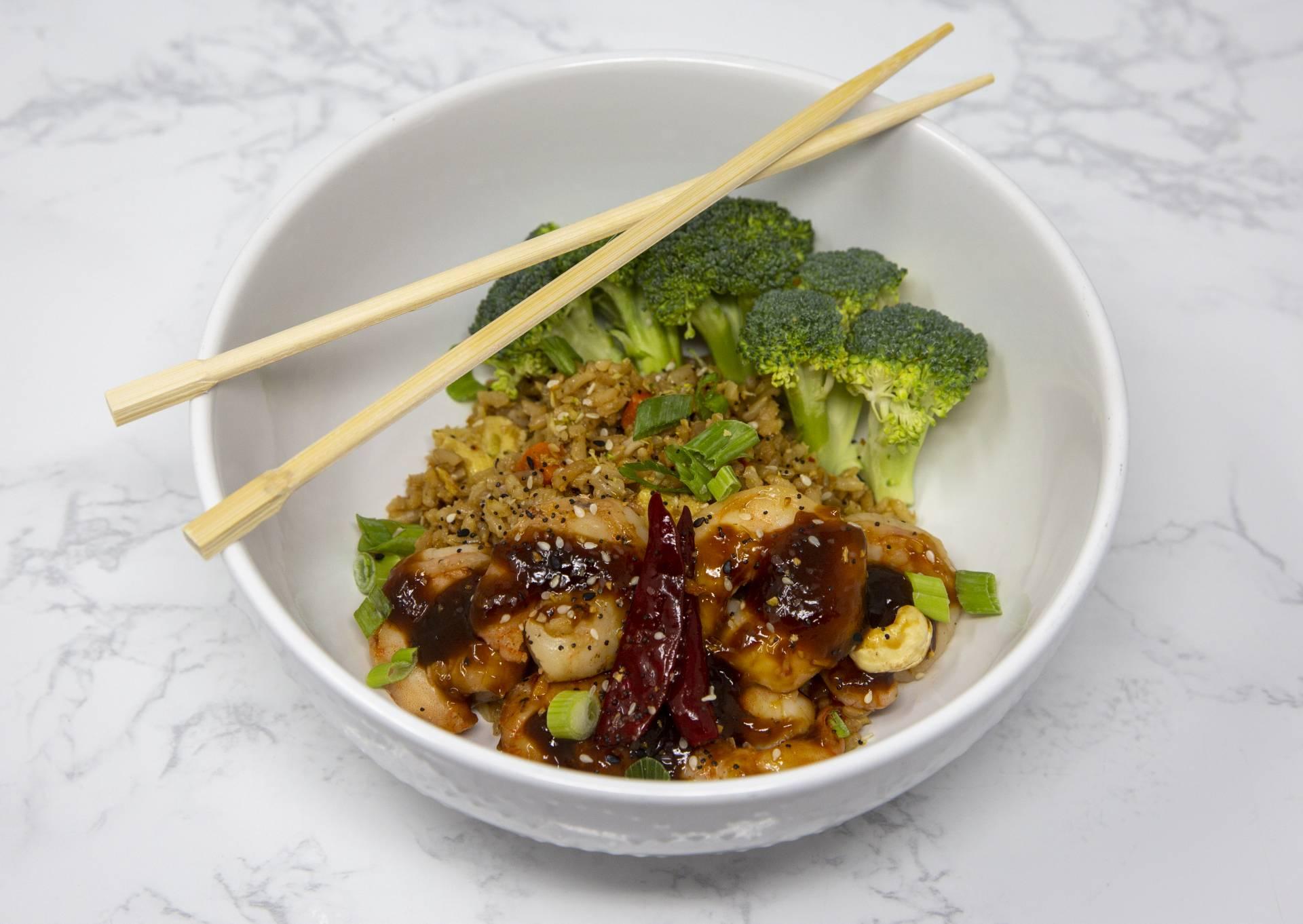 KETO Kung Pao Shrimp with  Cauliflower Fried Rice