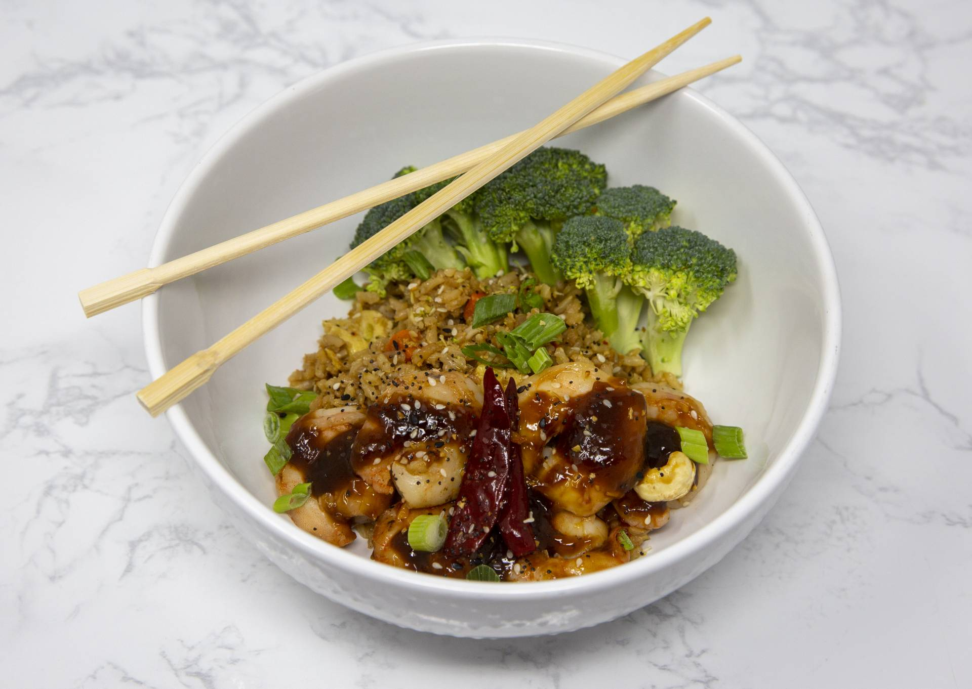 Kung Pao Shrimp with Fried Rice