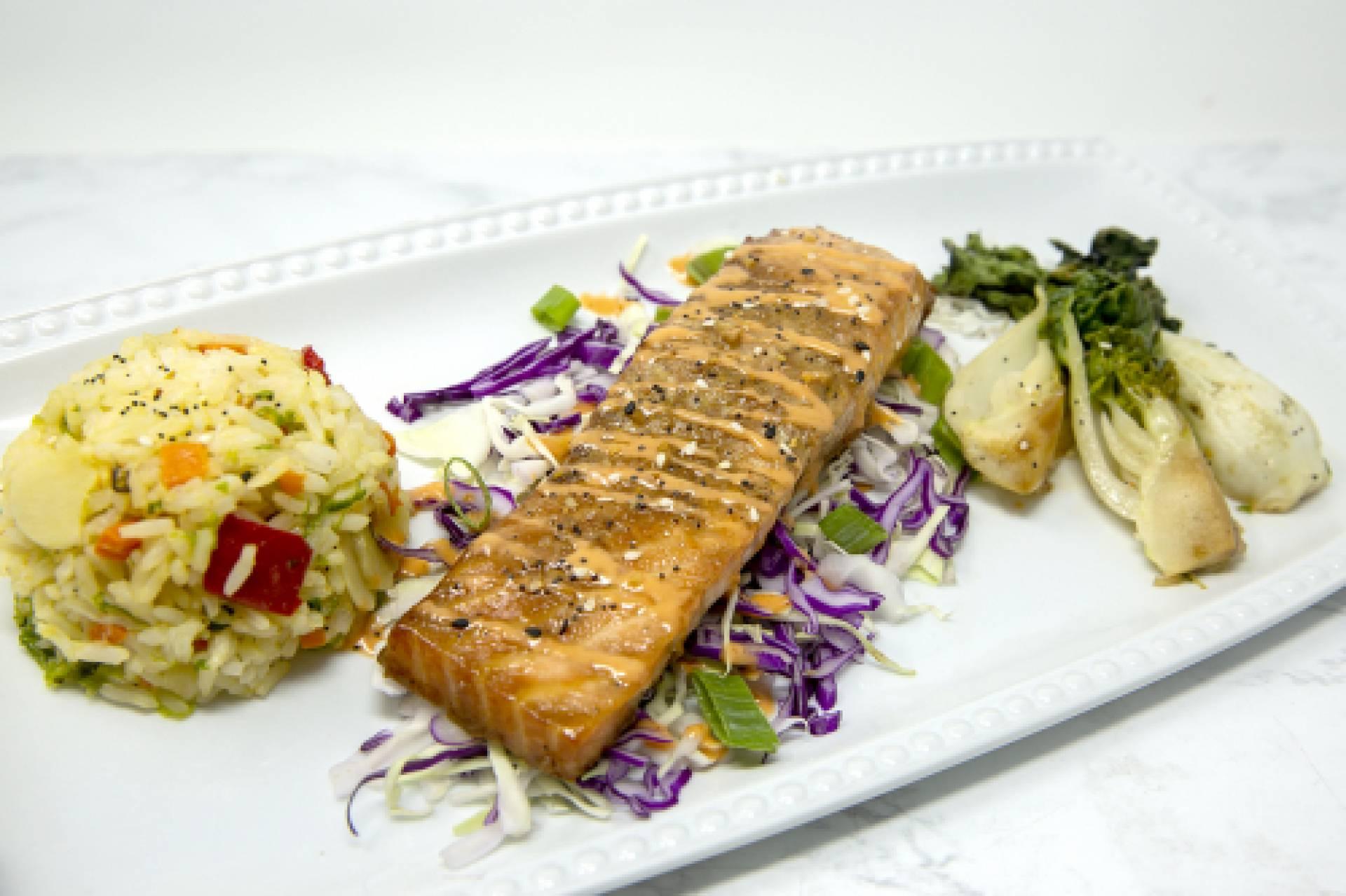 Teriyaki Salmon with Szechwan Rice