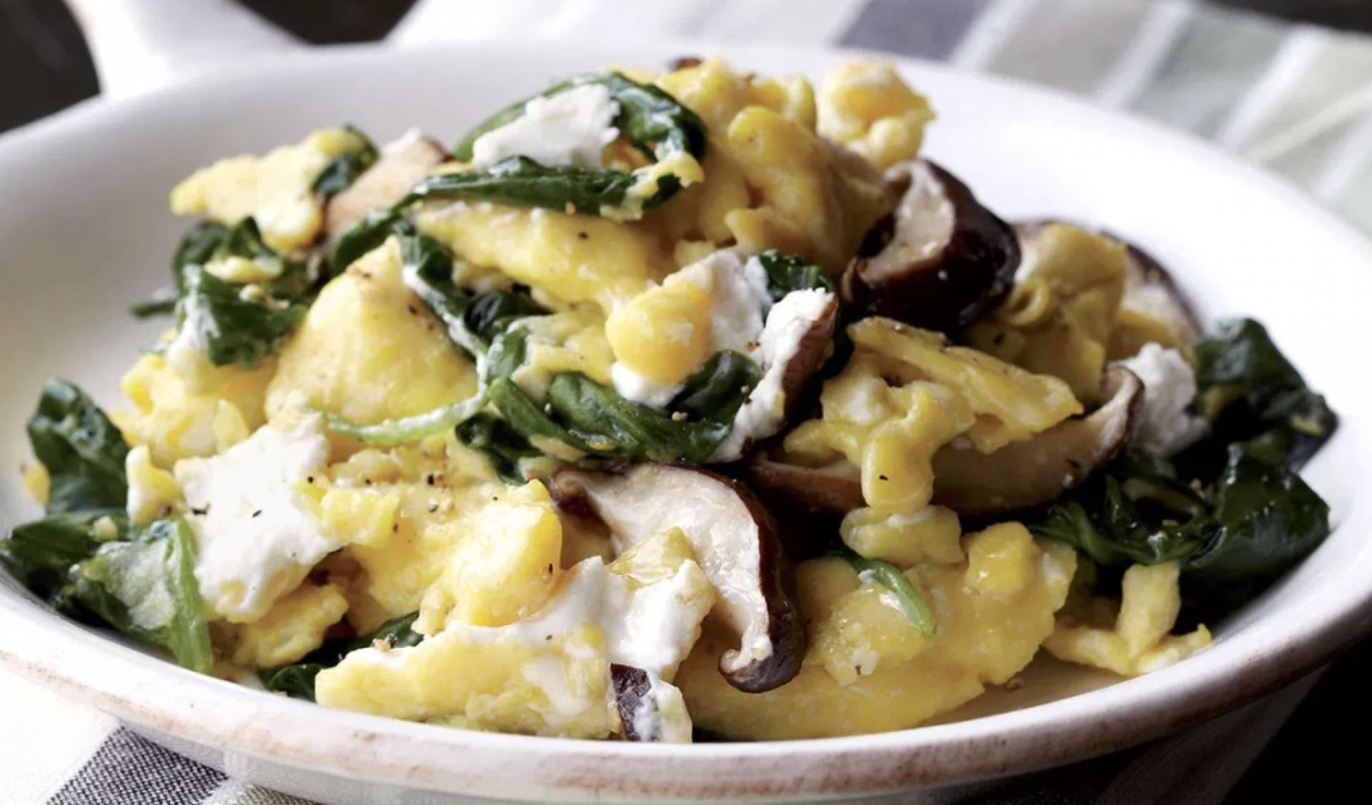 Mushroom and Swiss Egg Scramble