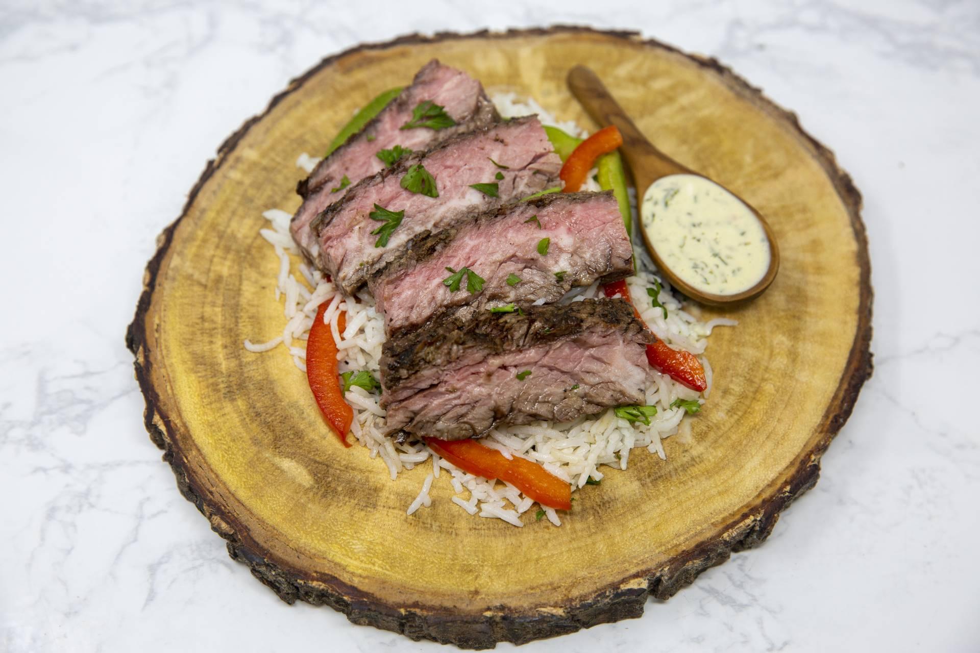 Steak with Chimichurri Aioli over Jasmine Rice