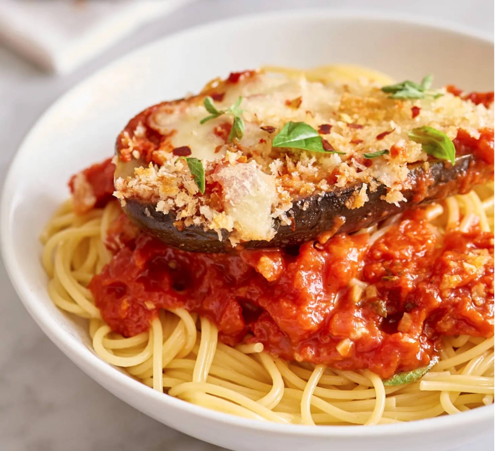 VEGETARIAN Eggplant Parmesan over Gluten-free Noodles
