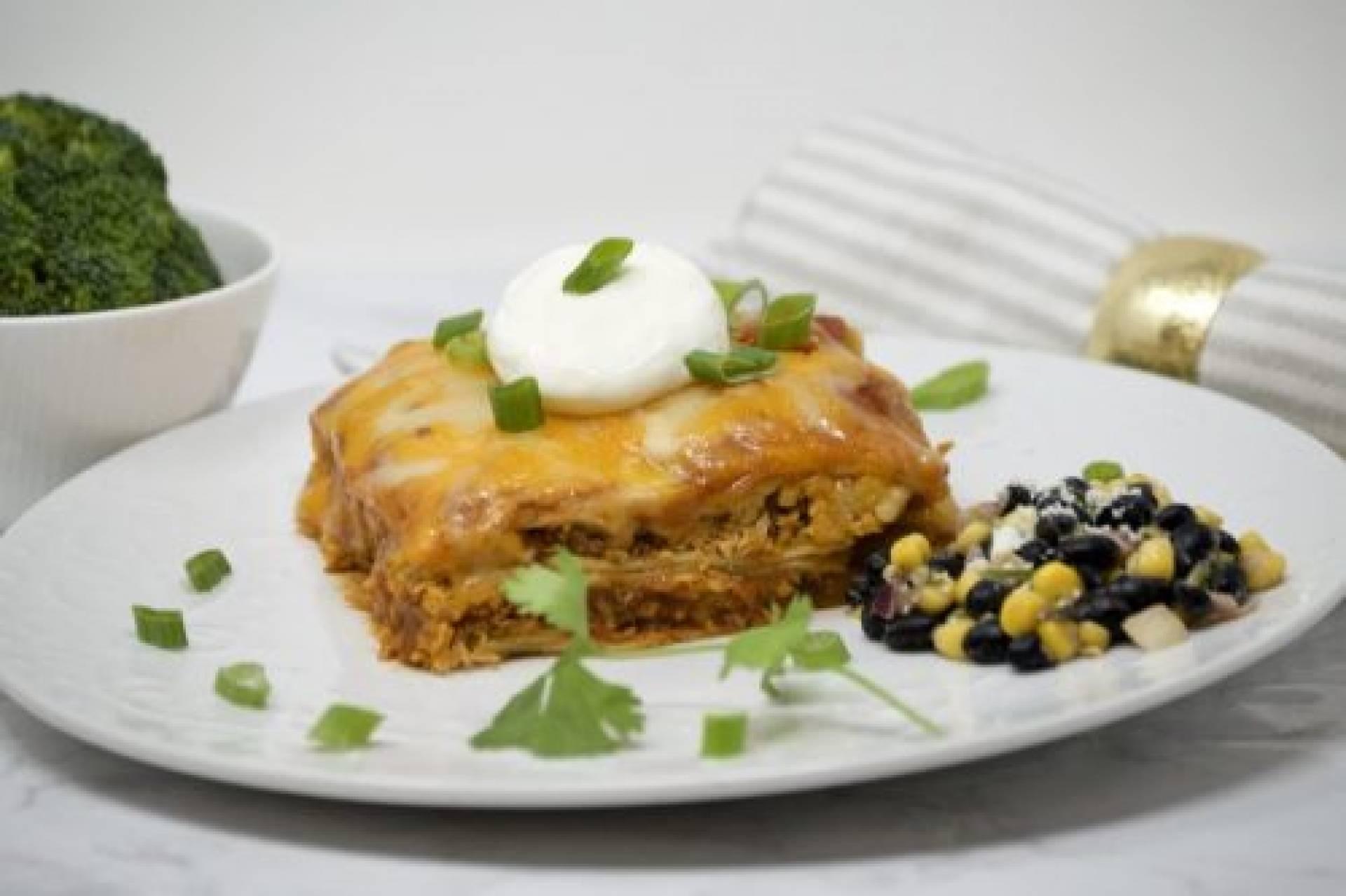 Shredded Chicken Enchilada Casserole