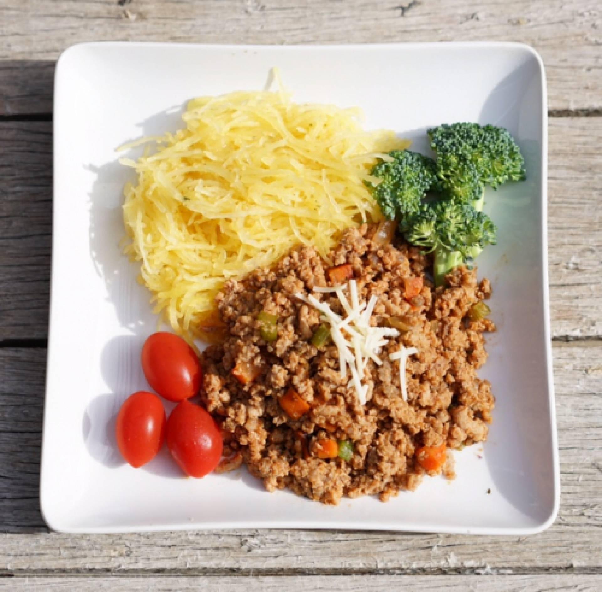 KETO Lean Turkey Bolognese over Spaghetti Squash